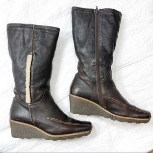 I Love Italian Shoes brown leather wedge boots 11